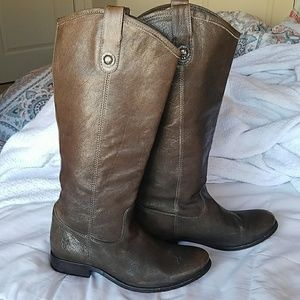 Frye Melissa button Brown tall leather boots